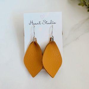 Tan leather earrings